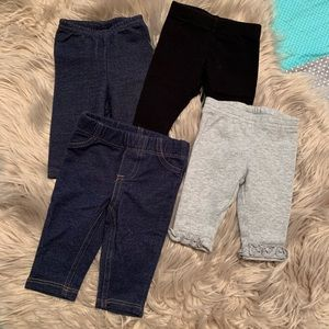 4 pairs newborn girl leggings denim black gray